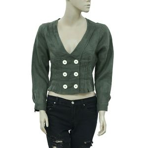Free People Buttondown Pintuck Olive Green Top XS